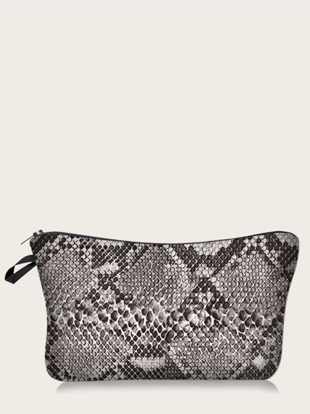 Snakeskin Print Zipper Makeup Bag