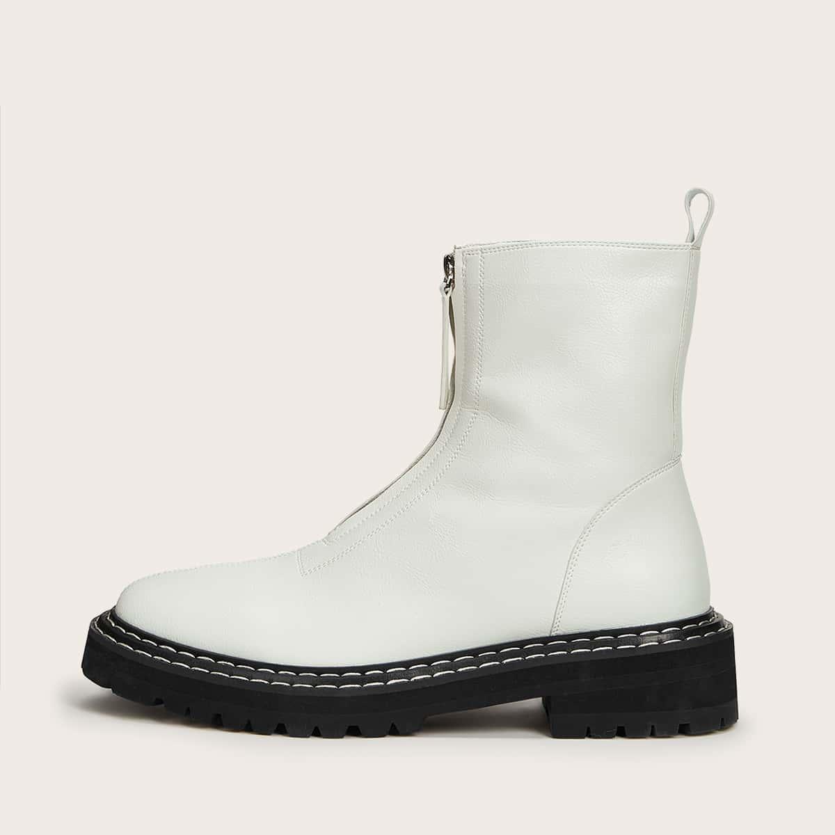 SHEIN / Minimalistische Stiefel mit Reißverschluss vorne