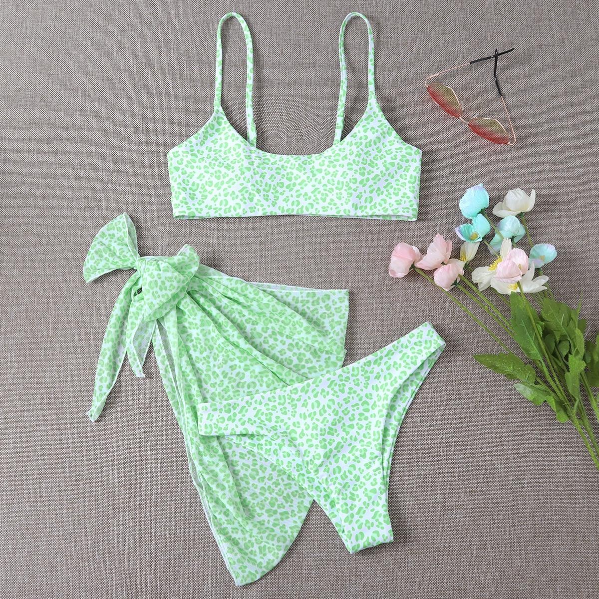 SHEIN / 3pack Leopard Bikini Swimsuit & Beach Skirt