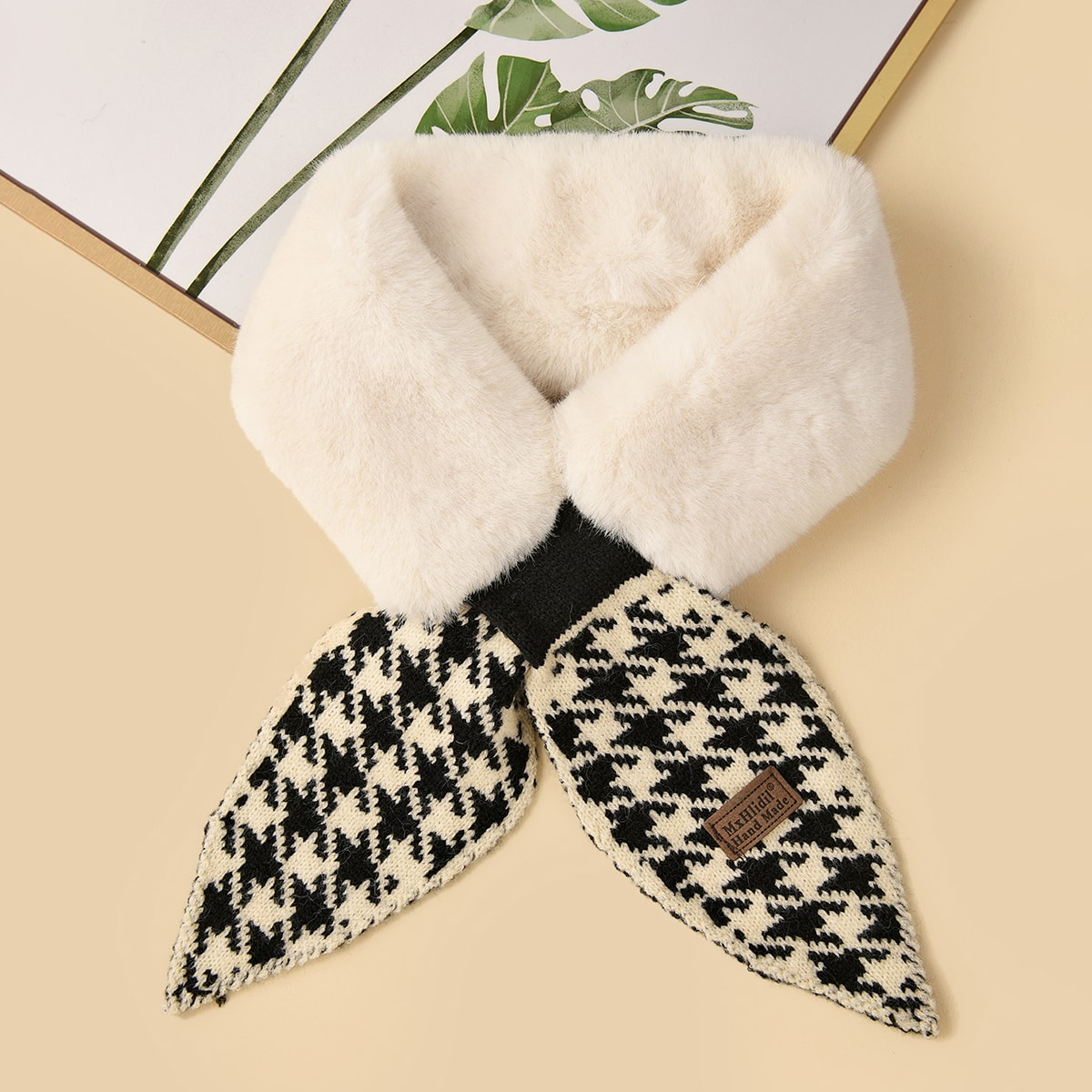 Houndstooth Pattern Fluffy Tippet Scarf