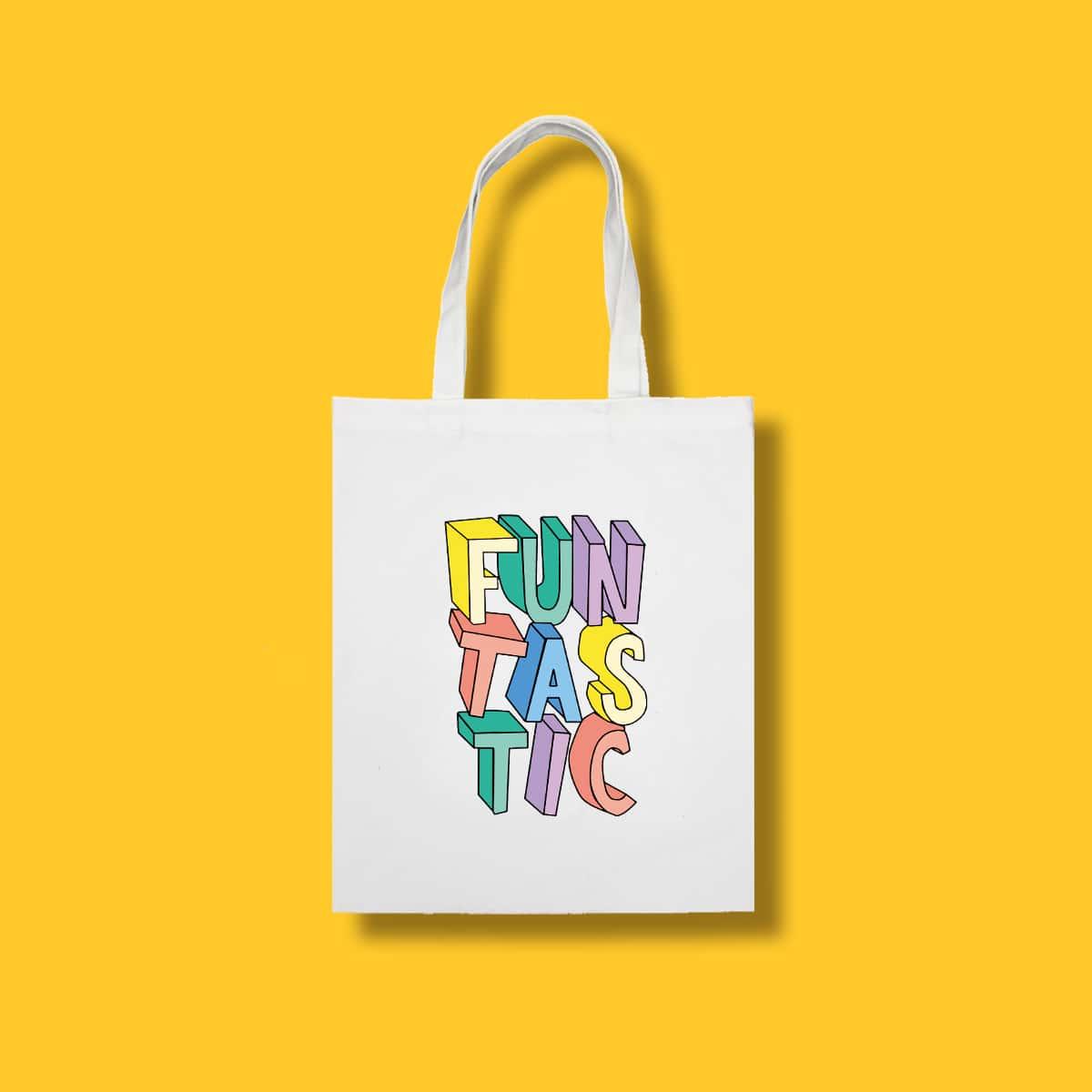 Bolso de compra con letra de color combinado