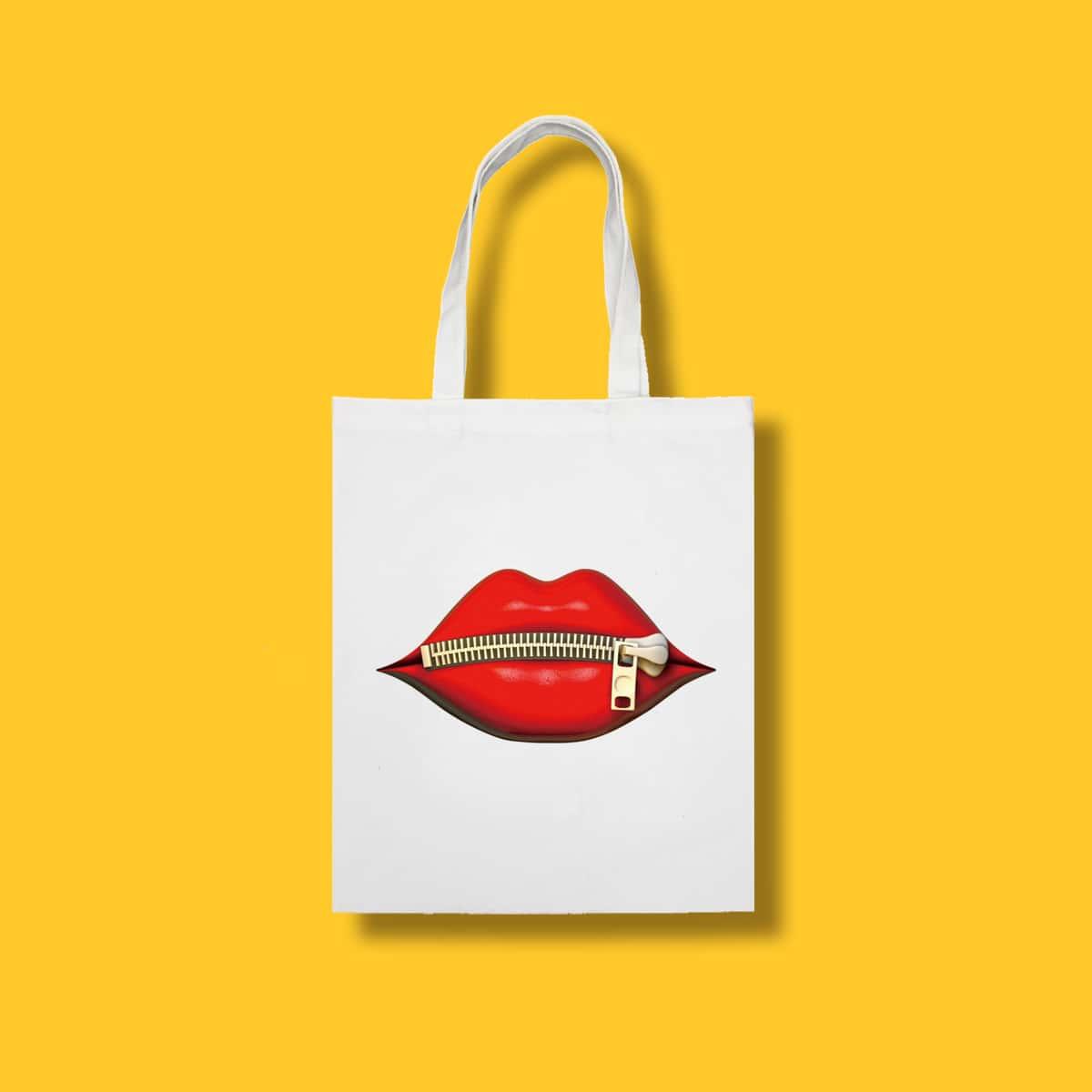 Bolso de compra con estampado de labio de gran capacidad