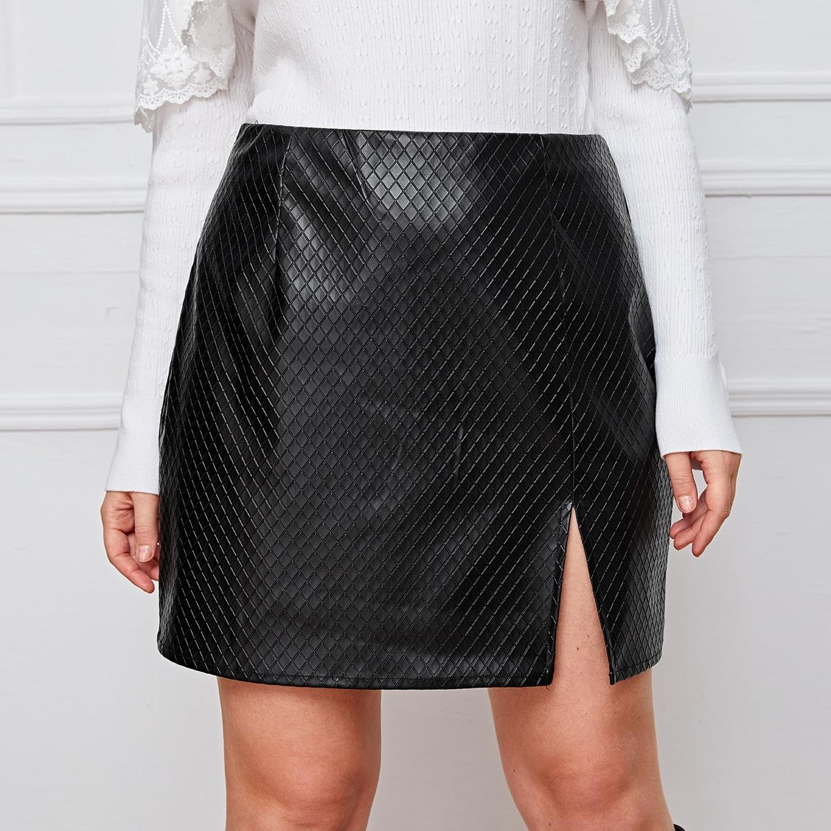 SHEIN / Plus Zipper Side Split Hem Quilted PU Skirt