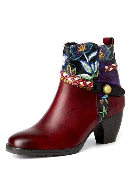 Floral Embroidery Chunky Heeled Leather Boots