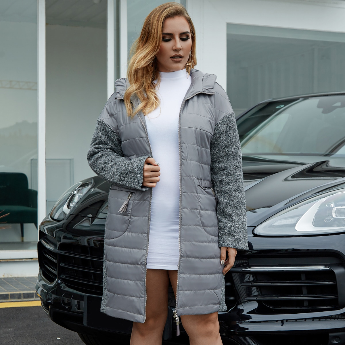 Astrid Plus Zip Up Hooded Marled Knit Puffer Coat