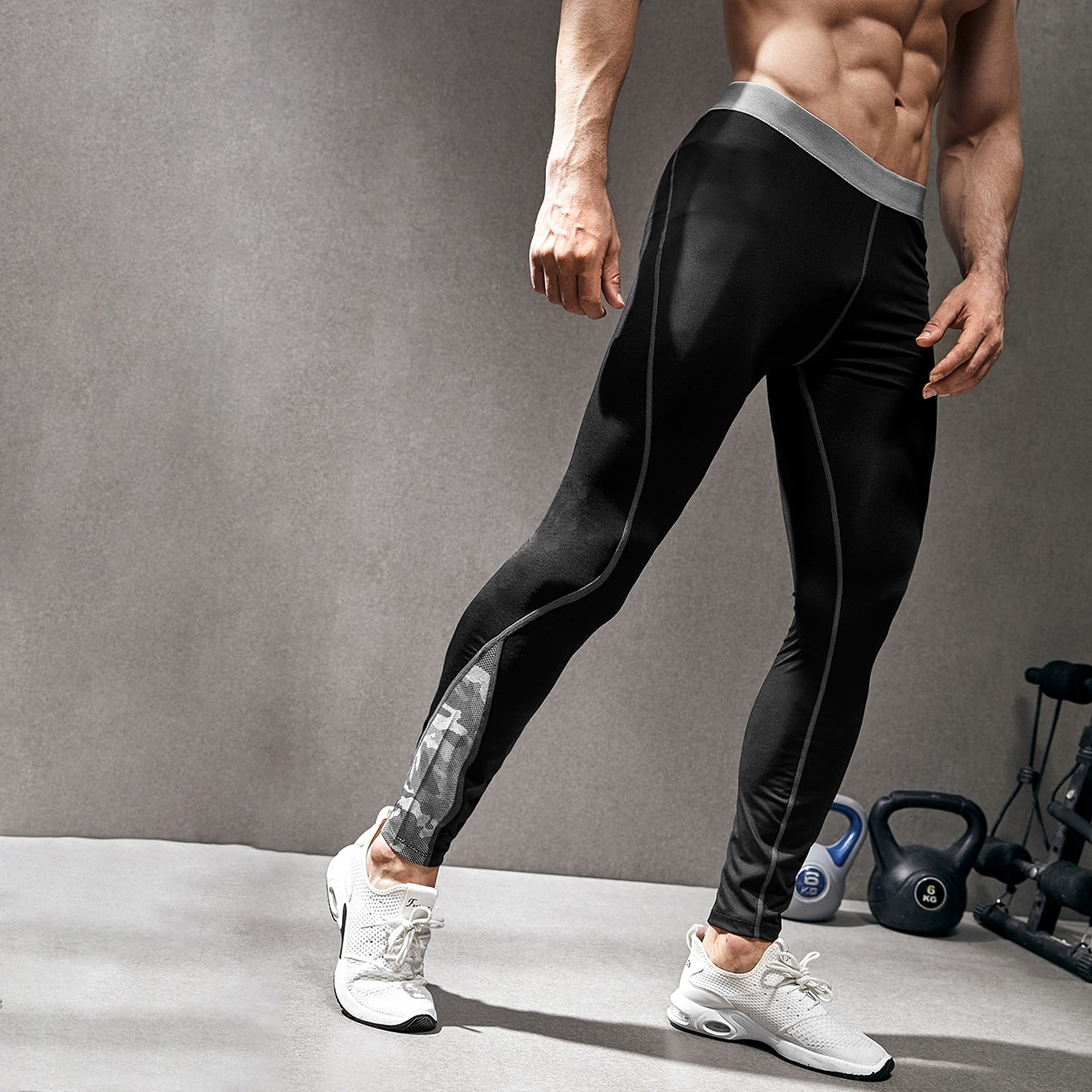 Men Letter Graphic Sport Tights