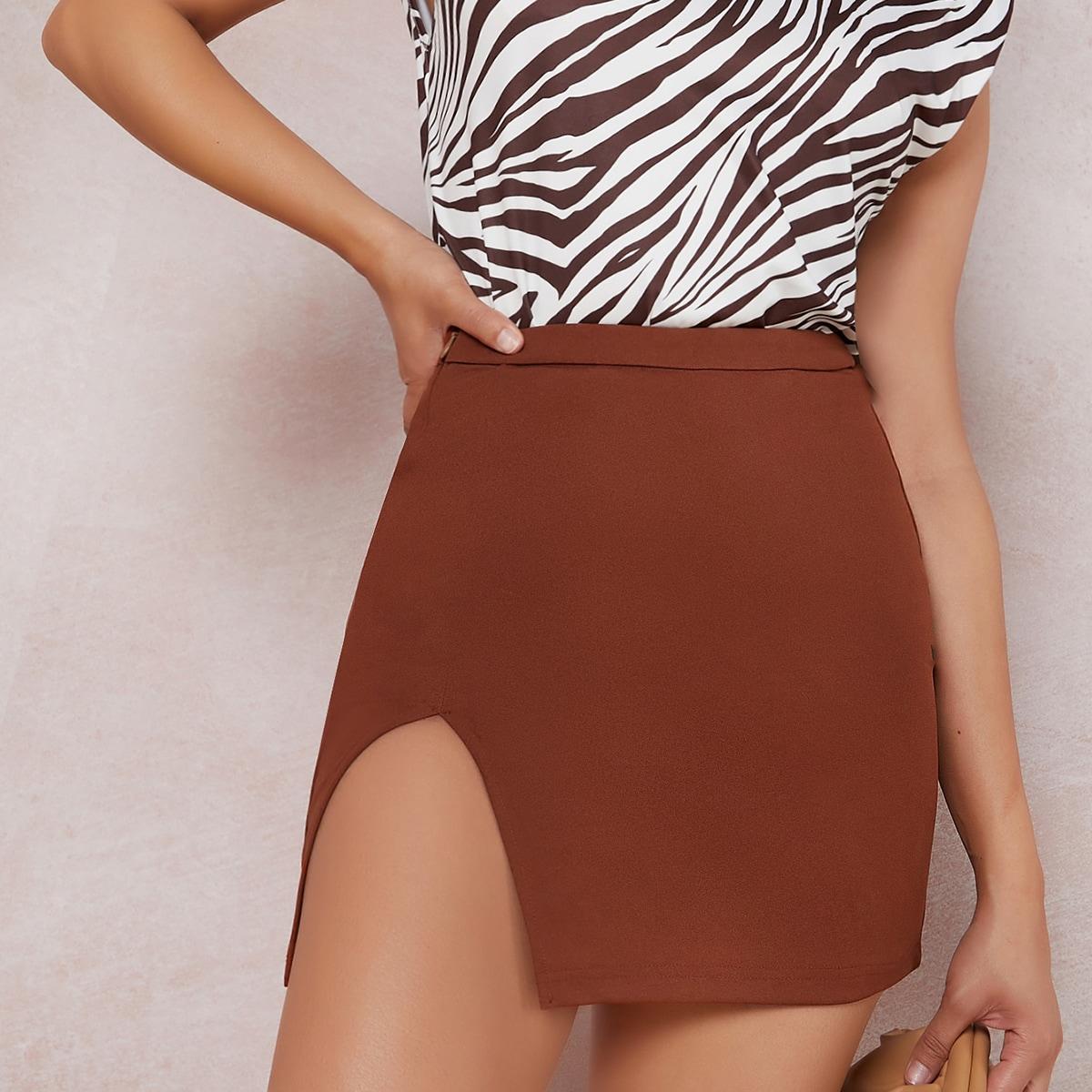 SHEIN / Zipper Side Split Hem Solid Skirt