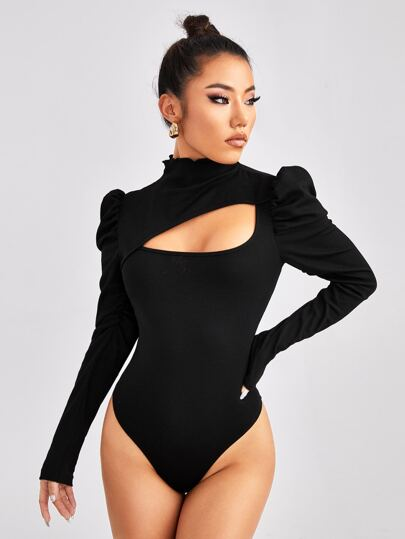 Gigot Sleeve Cut Out Front Bodysuit