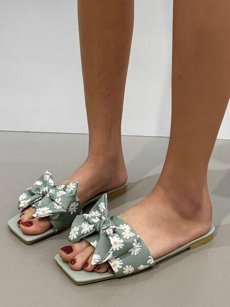 Bow Decor Floral Graphic Slide Sandals
