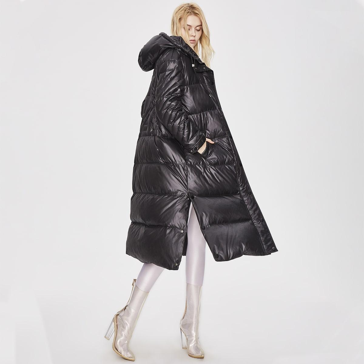 Zip Up Hooded Pocket Side Down Coat