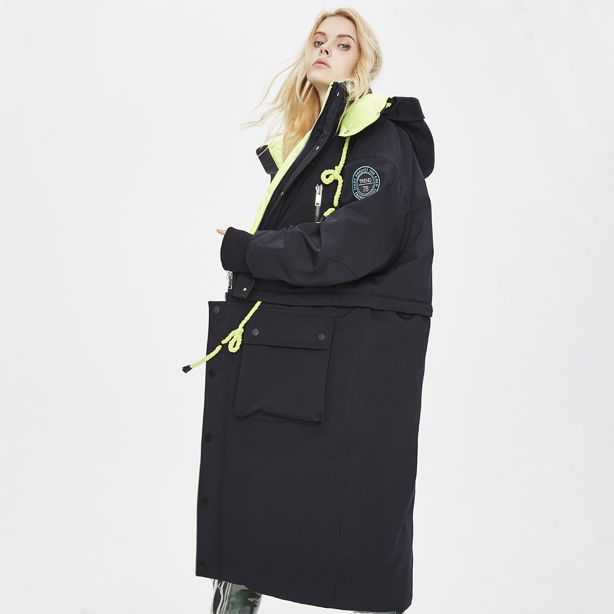Flap Pocket Button Front Hooded Two Way Down Coat
