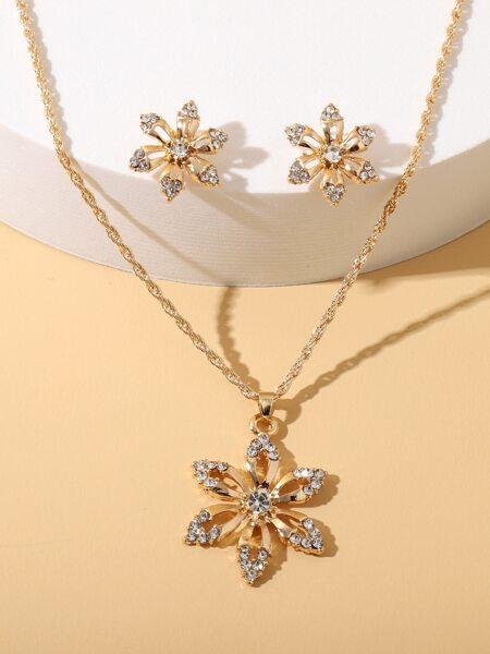 Rhinestone Flower Charm Necklace & Earrings