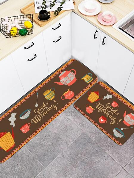 1pc Cup Print Kitchen Carpet