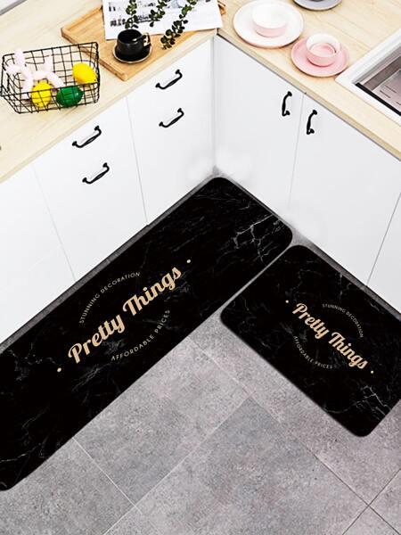 1pc Slogan Graphic Kitchen Carpet
