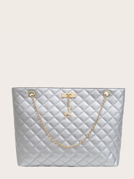 Chain Strap Quilted Tote Bag