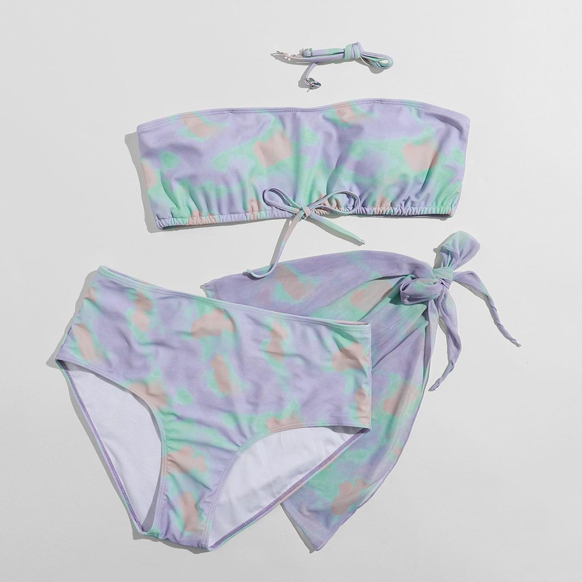 SHEIN / 3pack Plus Tie Dye Bandeau Bikini Swimsuit & Beach Skirt
