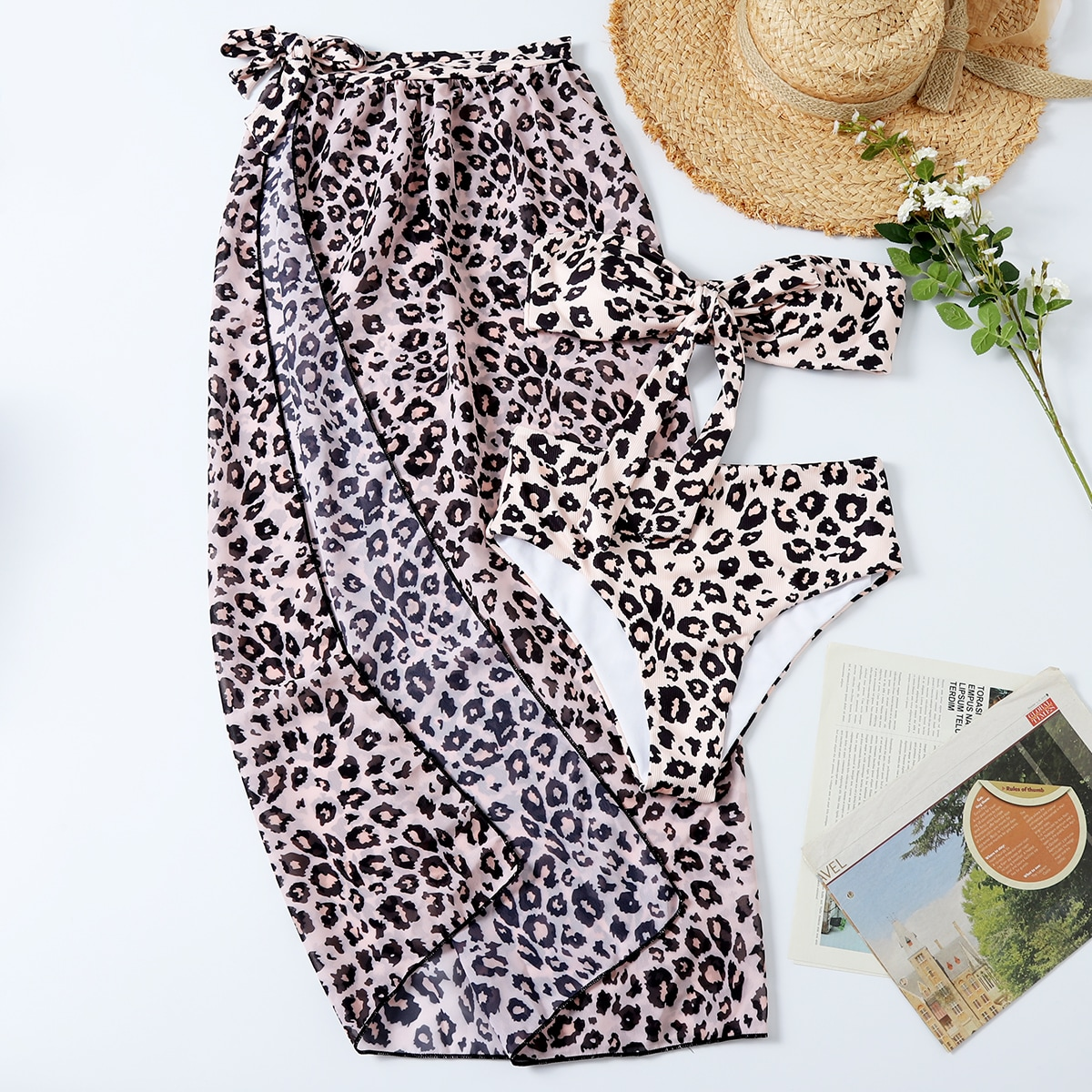 SHEIN / 3pack Leopard Bandeau Bikini Swimsuit & Beach Skirt