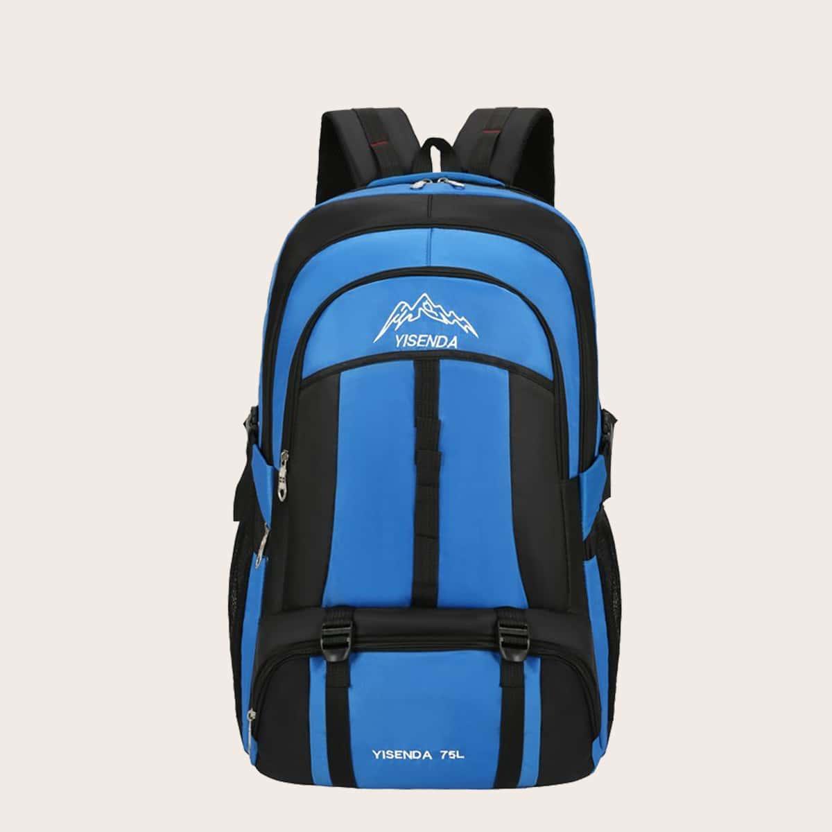SHEIN / Men Letter Graphic Color Block Backpack