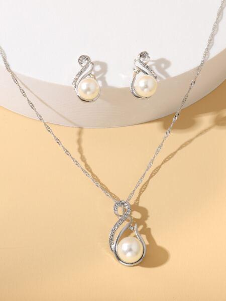 3pcs Faux Pearl & Rhinestone Decor Jewelry Set