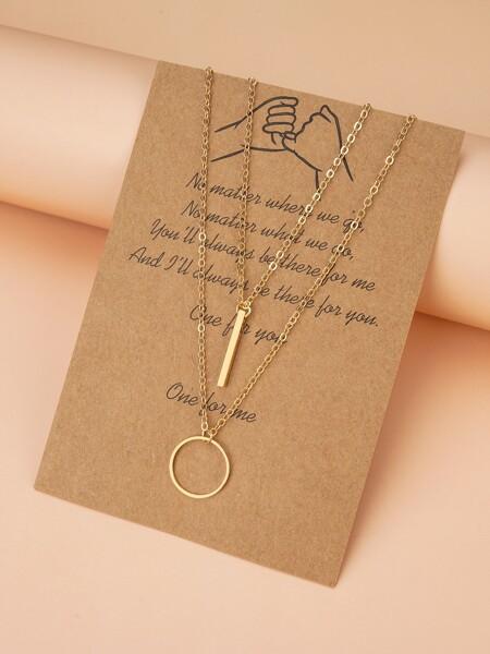 2pcs Round Charm Necklace