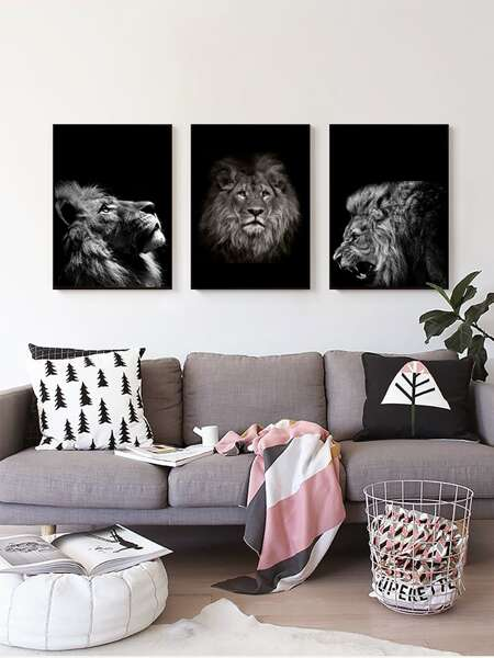 3pcs Animal Print Wall Painting Without Frame