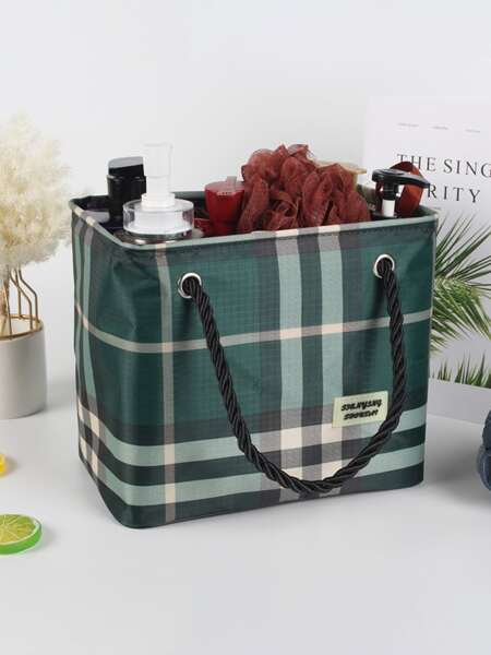 1pc Plaid Pattern Storage Bag