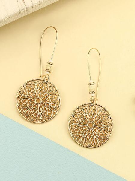 Flower Design Drop Earrings