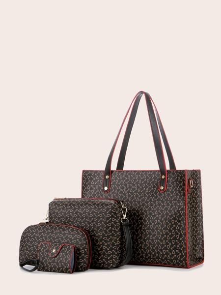 4pcs Graphic Tote Bag Set