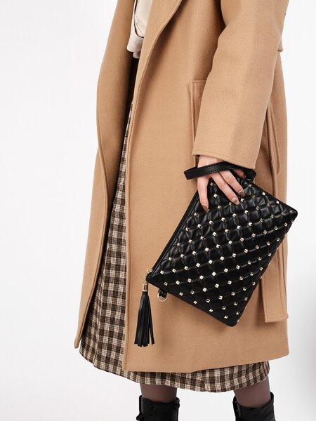 Tassel Charm Studded Decor Quilted Clutch Bag