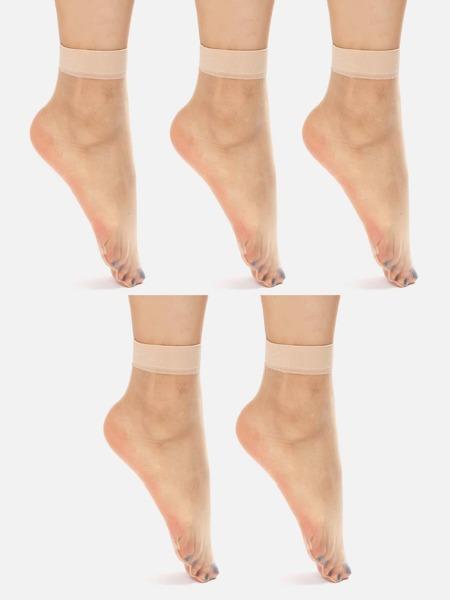 5pairs Plain Sheer Mesh Socks