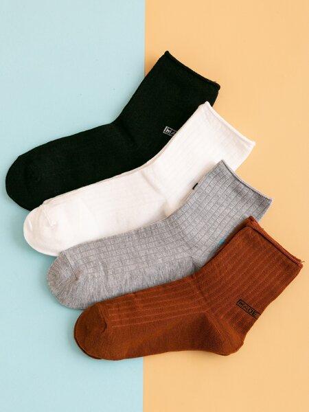 4pairs Letter Graphic Crew Socks
