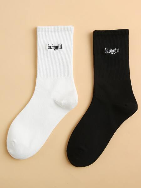 2pairs Letter Embroidery Socks