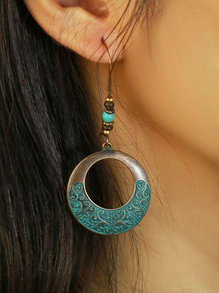 Engraved Round Drop Earrings