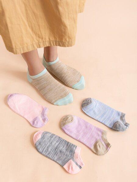 5pairs Colorblock Short Socks