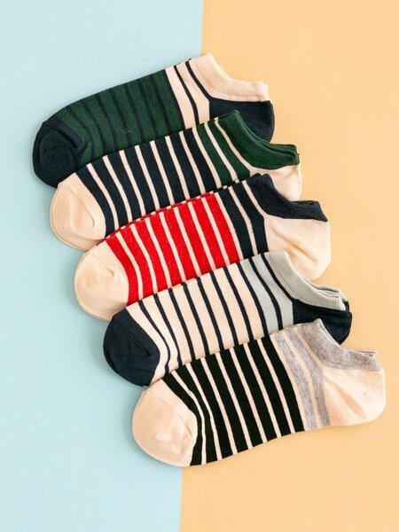 5pairs Striped Ankle Socks