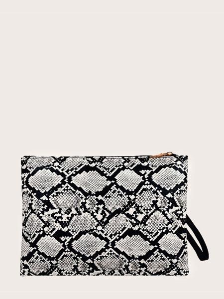 Snakeskin Print Clutch Bag