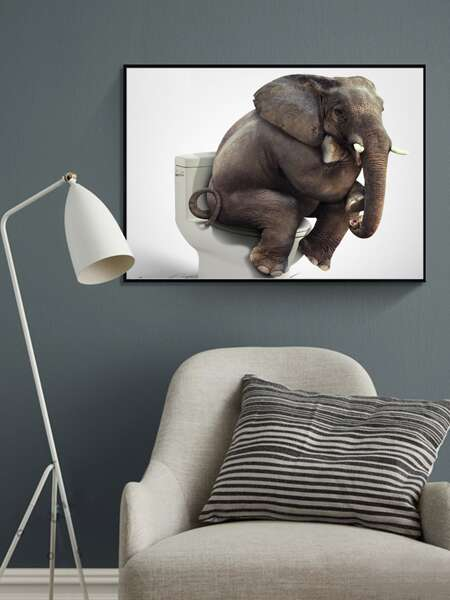 Elephant Print Wall Painting Without Frame