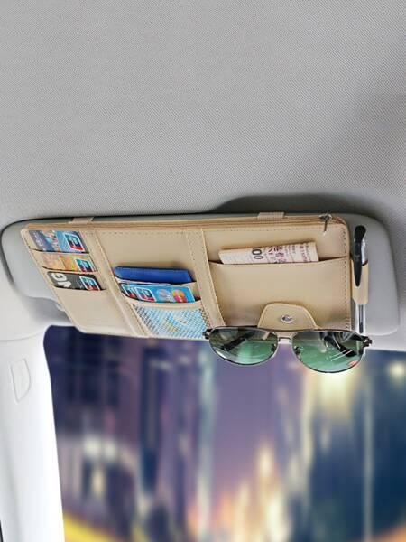 1pc Car Sun Visor Storage Bag