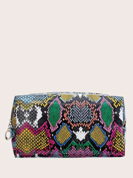 Colorful Snakeskin Print Makeup Bag