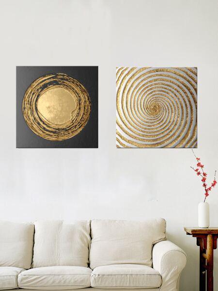 2pcs Geometric Pattern Wall Painting Without Frame