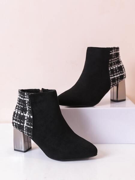 Point Toe Zipper Side Chunky Heeled Boots