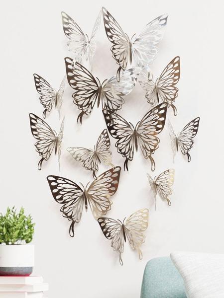 12pcs 3D Hollow Butterfly Wall Sticker