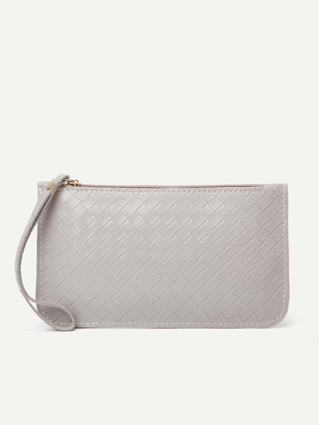 Braided Pattern Clutch Bag With Wristlet