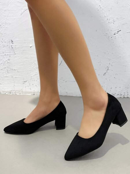 Point Toe Mid Heeled Chunky Court Pumps