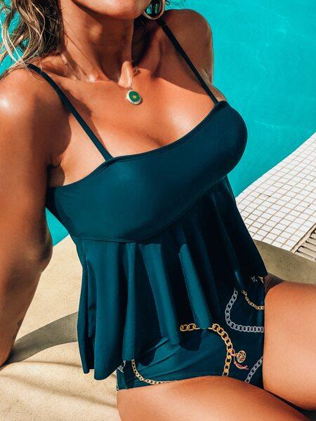 Chain Print Ruffle Hem Bikini Swimsuit