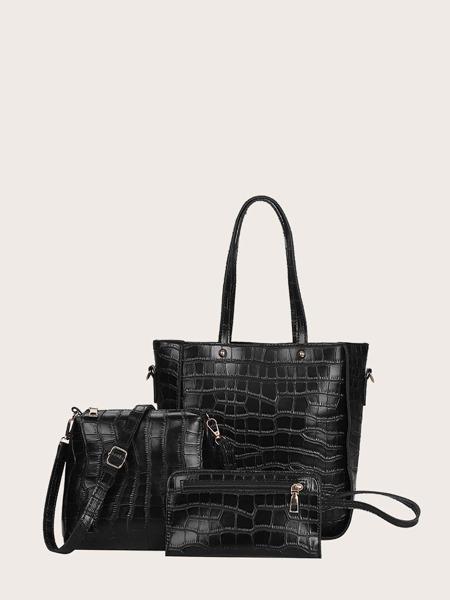3pcs Croc Embossed Tote Bag Set