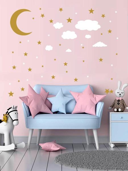 Kids Moon & Star Print Wall Sticker