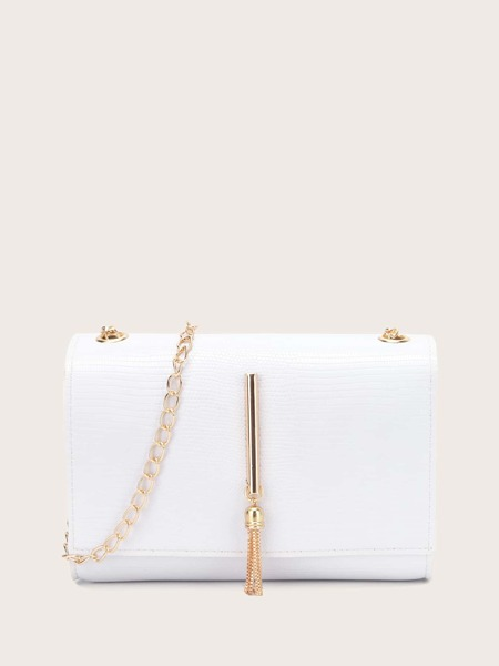 Metal Tassel Decor Flap Chain Bag