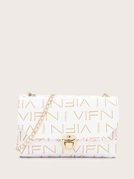 Letter Graphic Push Lock Chain Bag