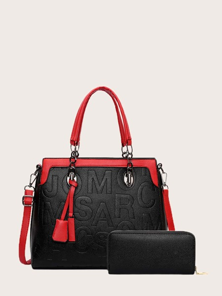 Letter Embossed Tote Bag With Purse